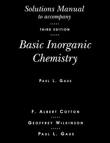 Basic Inorganic Chemistry, Solutions Manual:   Explains the basics of inorganic chemistry with a primary emphasis on facts; then uses the student's growing factual knowledge as a foundation for discussing the important principles of periodicity in structure, bonding and reactivity. New to this updated edition: improved treatment of atomic orbitals and properties such as electronegativity, novel approaches to the depiction of ionic structures, nomenclature for transition metal compounds...