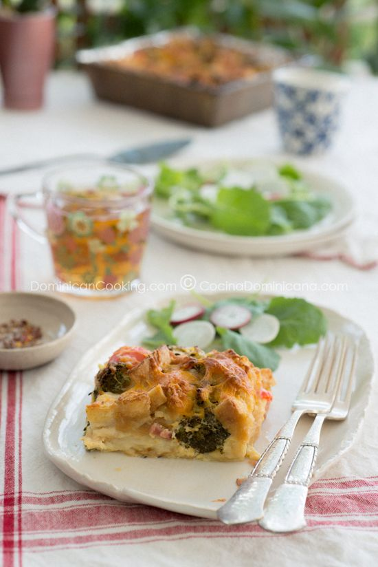 Day-old bread, vegetables and cheese casserole