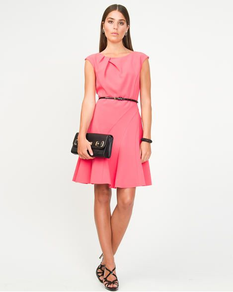 Viscose Blend Fit and Flare Dress
