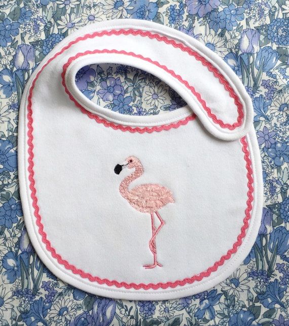 Baby bib flamingo design girls bib bib for by Pobblebonksdesigns