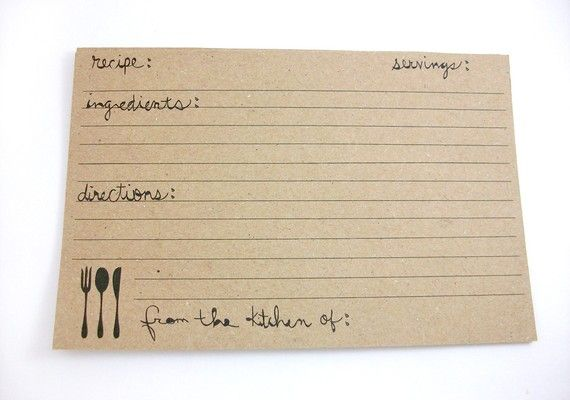 Kraft Paper Recipe Cards Rustic Farmhouse Fork by OhHelloMagpie