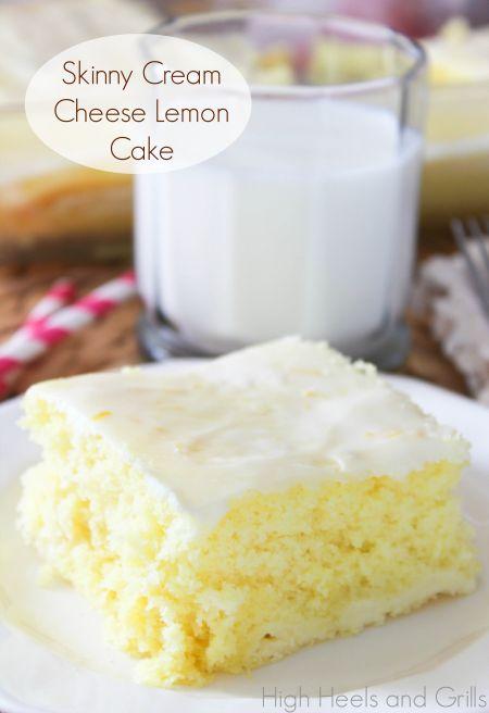 Skinny Cream Cheese Lemon Cake. Guilt free dessert. #recipe http://www.highheelsandgrills.com/2013/10/skinny-cream-cheese-lemon-cake.html
