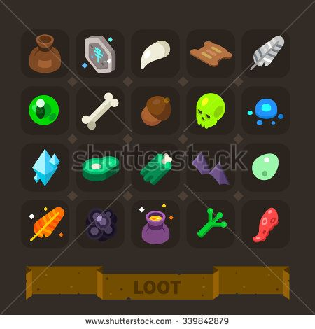 Fantasy game icons set: different loot from monsters - bag, rune stone, tooth, claw, animal skin, feather, monster eye, bone, skull, crystal, meat, zombie, bat wings, frog paw. Flat vector set.