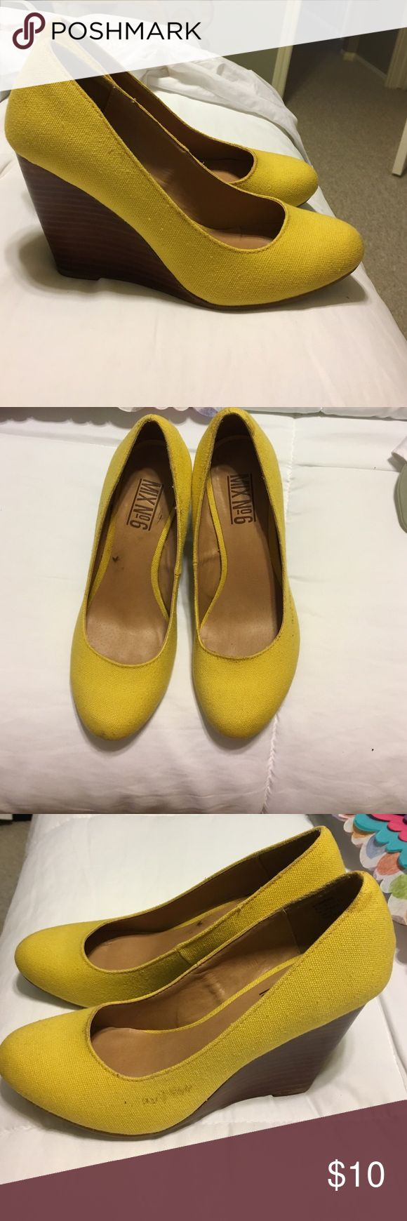 Yellow wedges Cute yellow wedges! Feel free to make an offer decent condition but has a little scuff as shown in picture! Shoes Wedges