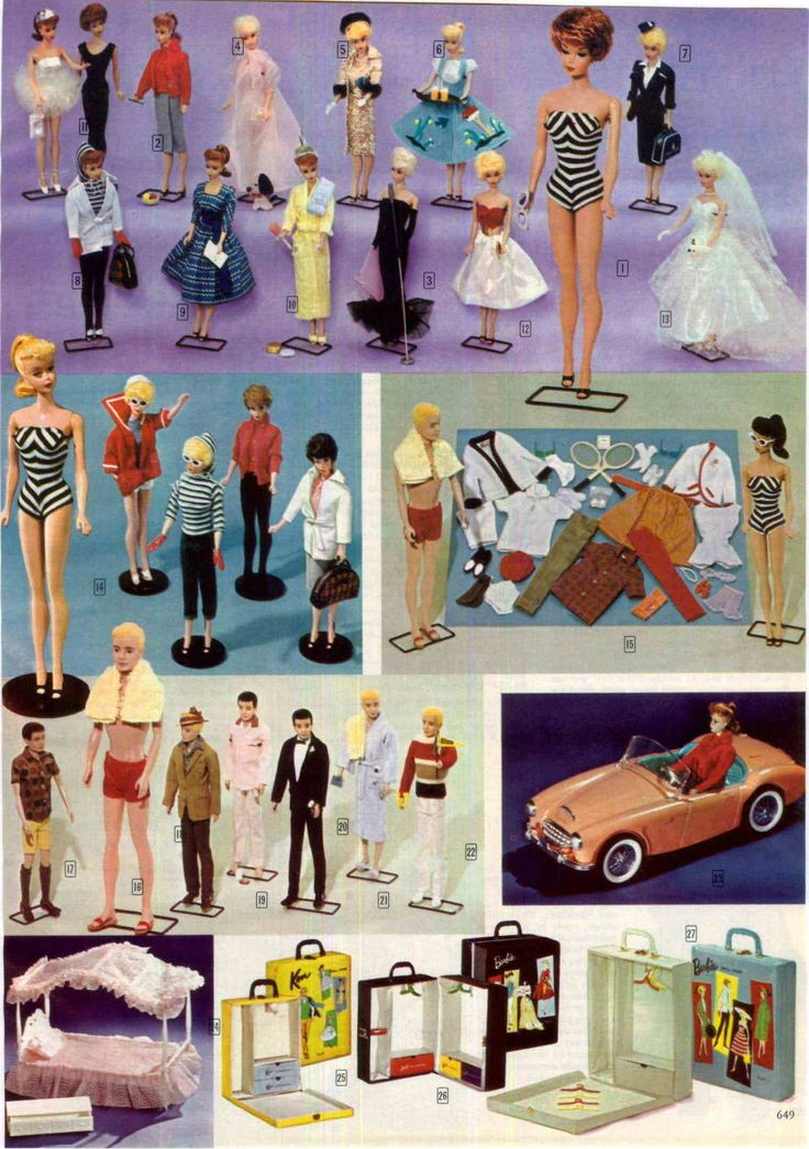 Barbie and Ken Fashions, Austin-Healey Sports Car, Canopy Bed and Cases from a John Plain Company Catalog, 1963