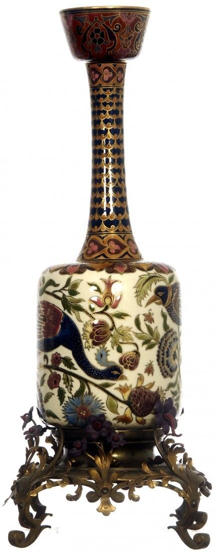 "26"" ZSOLNAY CERAMIC VASE FITTED ON ELABORATE FLORAL BRASS BASE  VASE FEATURES TROPICAL BIRD AND PEACOCK ON FLORAL FIELD - CIRCA 1900 13/L2500"