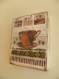 Coffee cup Collage on Canvas