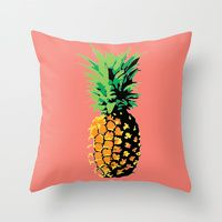 Throw Pillow featuring Pop Art Pineapple by designed to a T