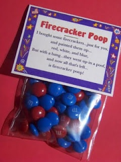 Firecracker Poop for Fourth of July...cute to give kids to snack on while watching the firework show!