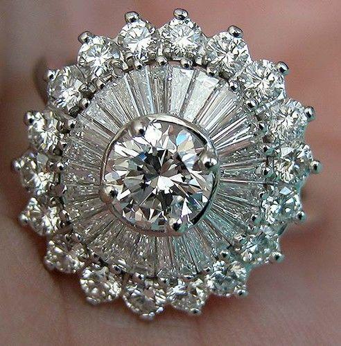 3 53 Ct Vintage Estate Transitional Cut Diamond Platinum Ballerina Ring VS/F c. 1940-1950