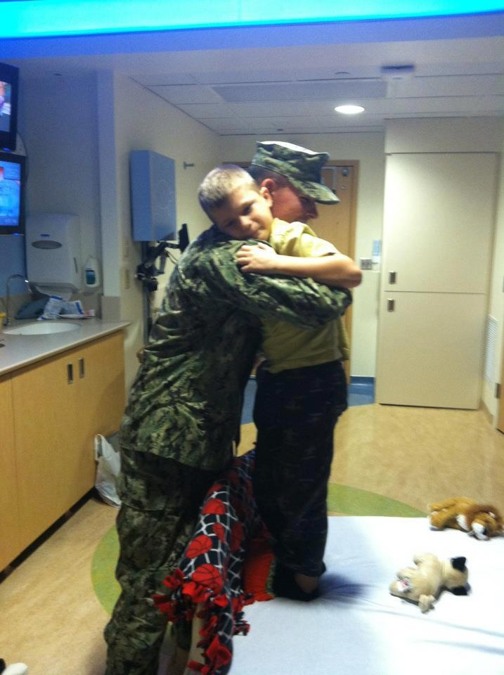 Alex's Big Brother Jason came home from afghanistan came straight to see his little brother in the hospital ♥   melts my heart!