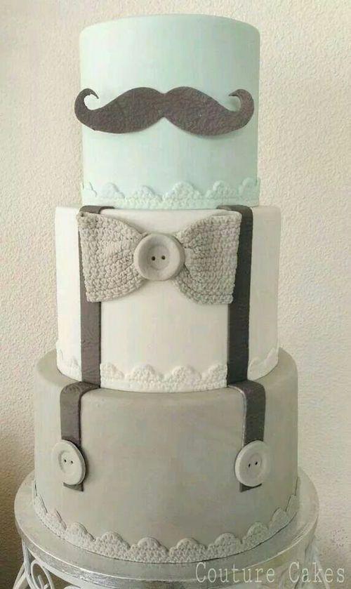 Gâteau baby shower moustache noeud papillon