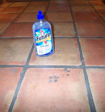 Tucson Saltillo Tile Floors and Future- I am definitely going to try this. Clean floors with hot water and vinegar, allow to dry. Next mop floors with future.