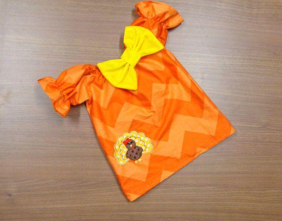 Orange Chevron Brown Yellow Turkey Red Bow Thanksgiving Dress
