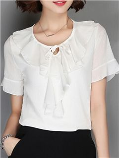 Ericdress Solid Color Frill Chiffon Blouse