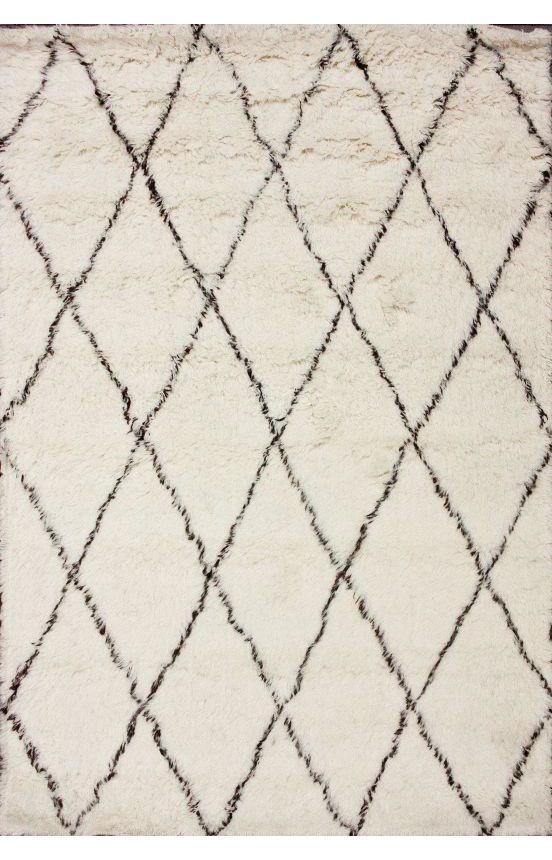 Rugs USA Tuscan Moroccan Shag Ivory Rug, 100% Wool, Hand Made, Contemporary, Flokati Rugs Transitional, home decor, home design, trellis.