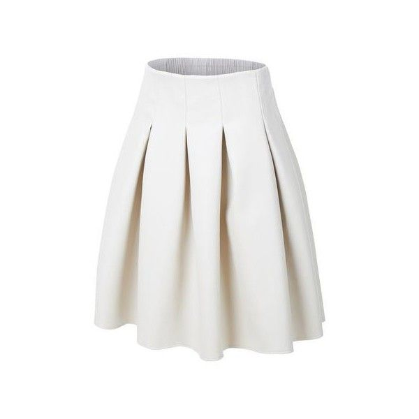 LE3NO Womens Faux Leather Pleated Midi Skater Skirt ($40) ❤ liked on Polyvore featuring skirts, mid calf skirts, faux leather flared skirt, faux leather skirts, pleated circle skirt and faux leather skater skirt