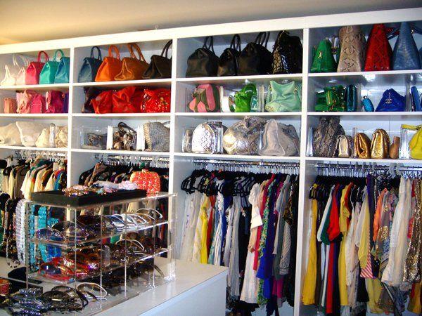 gorgeous closet with purse storage