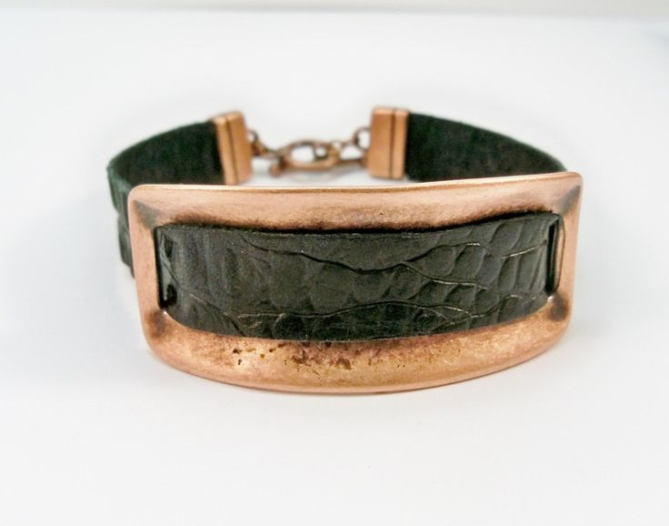 Leather and Cooper Bar Bracelet, Black Leather and Copper Bar, Copper Cuff Bracelet, Gift for Her by babbleon on Etsy