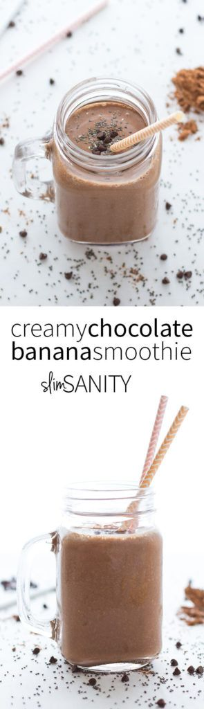 A creamy chocolate banana smoothie that is sure to stand up to even your worst ice cream cravings! Made with frozen banana and unsweetened cocoa powder. | slimsanity.com