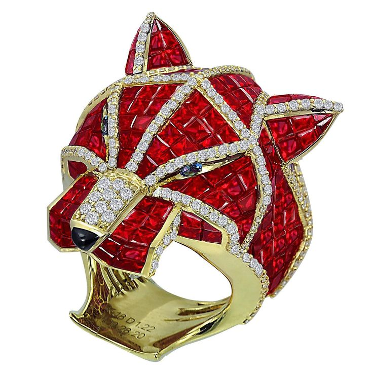 Ruby Diamond gold Panther Ring   From a unique collection of vintage fashion rings at https://www.1stdibs.com/jewelry/rings/fashion-rings/