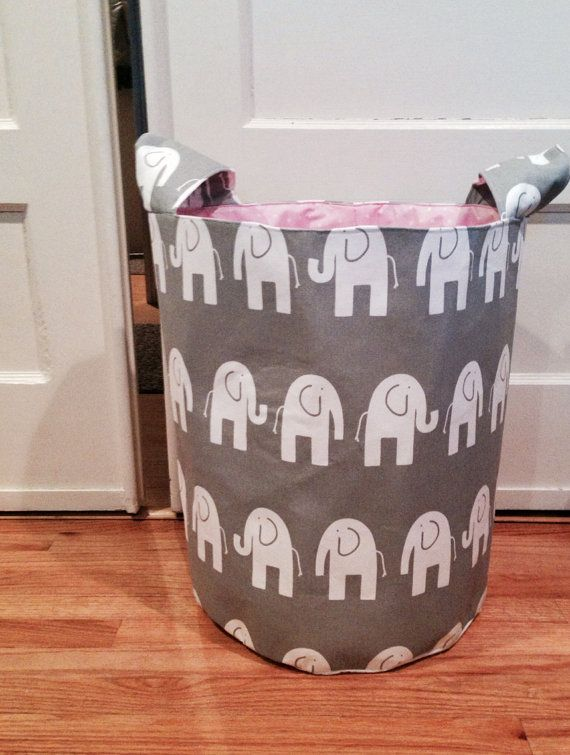 Extra large gray elephant fabric bucket with top handles and pink dot lining on Etsy, $75.00
