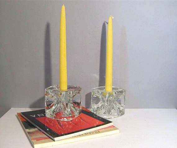 Pair Mid Century Mod Sklo Union Large 3.5 Inch Glass Cube