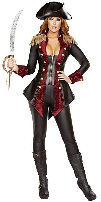 Women's 3-Pc Adventurous Pirate Babe Black & Burgundy Lady Pirate Costume with Fringe Epaulettes, Burgundy Satin Brocade Print Panels with Gold Buttons on Front of Snug Fitting Zip-Up Faux Leather Captains Jacket, Black Faux Leather Pants, and Plastic Sword by Roma Costume, Inc.