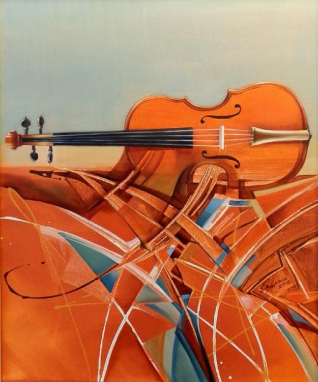 Large Modern Original ART viola abstract music SURREAL OIL painting G.Bukova #Artmosfair