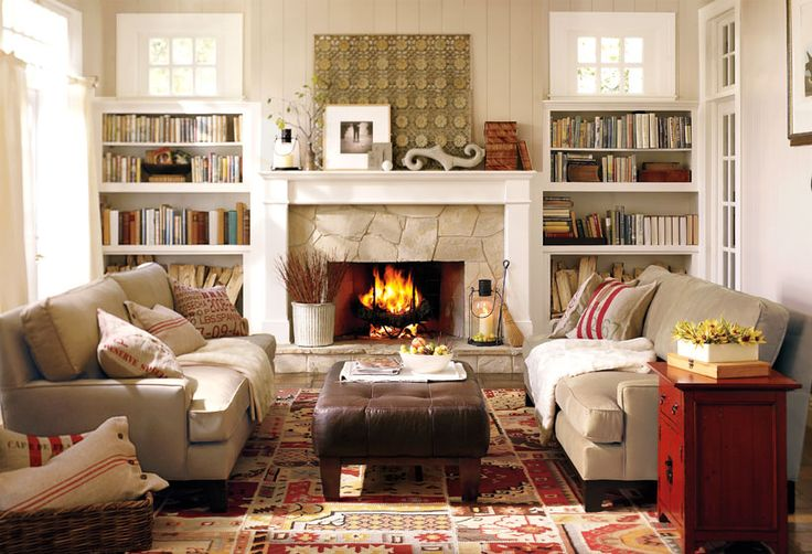 love the built-ins next to the fire-place: Barns Living, Built In, Fireplaces, Builtin, Cozy Living Rooms, Living Rooms Furniture, Families Rooms, Living Rooms Ideas, Pottery Barns