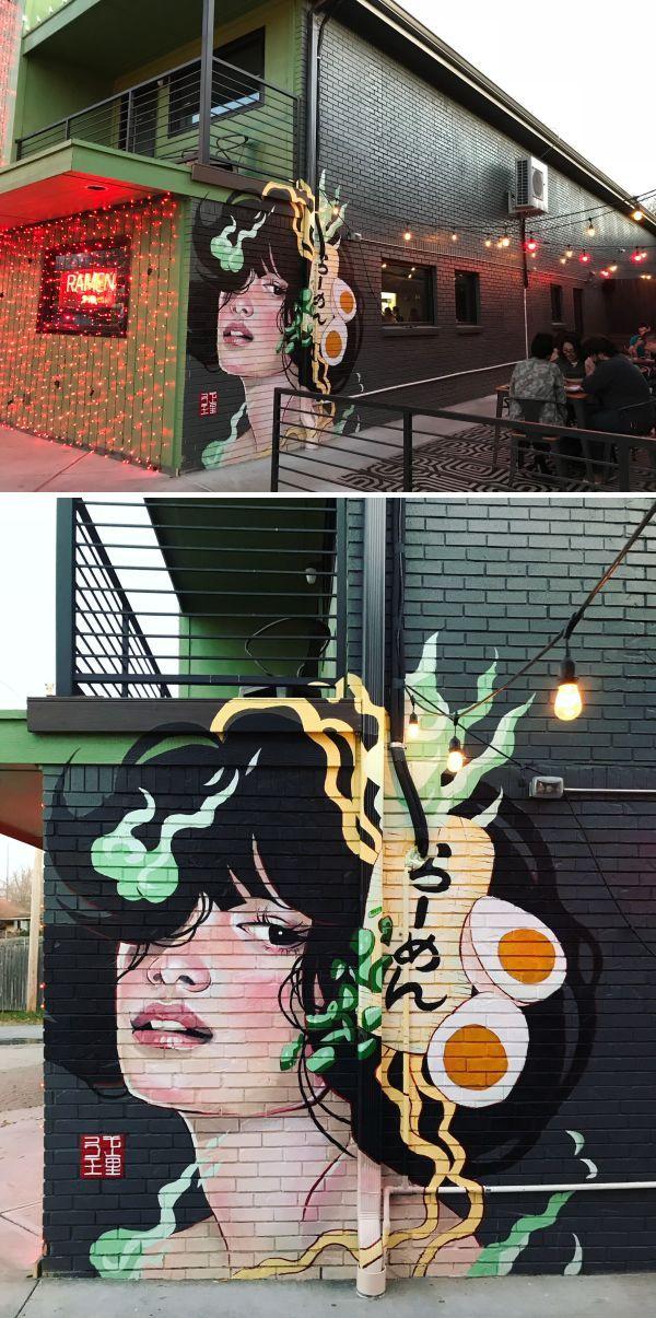 Murals Ramen Girl With Images Cafe Wall Art Mural Graffiti