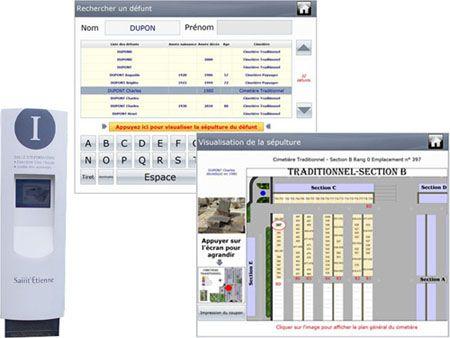 Le logiciel permet la mise à jour des bornes tactiles dans le cimetière pour trouver une concession http://www.gescime.com/bornes-interactives-gescimeborne.htm