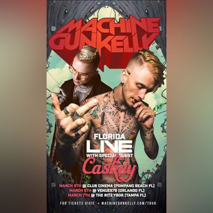 Attention! #MGK and #Caskey have three #Florida shows.  #pompanobeach #Orlando #Tampa #EstMeetsCst go get tickets at bakingwithcaskey.com