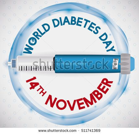 Commemorative design for World Diabetes Day with a insulin injection over a abstract blue circle and date for this medical celebration.