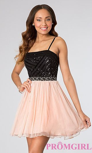 Short Spaghetti Strap Party Dress by As U Wish at PromGirl.com