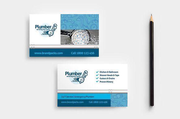 Plumber Business Card Template Business Card Template Photoshop Create Business Cards Business Cards Creative Templates