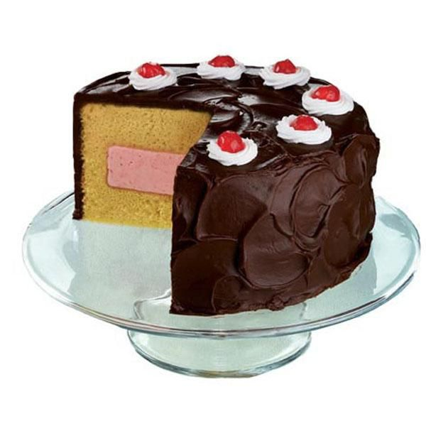 "Neapolitan Ice Cream Cake - Chocolate, vanilla and strawberry flavors are used to create this Neapolitan Ice Cream Cake. The Fanci-Fill Cake Pan bakes the ""tunnel"" that you fill with ice cream. The whipped cream and cherry on top dresses it in your ""sundae"" best!"