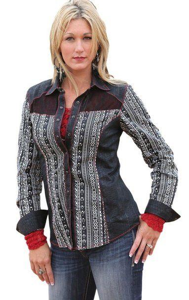 Cruel Girl Women's Aztec Print Mesh Back Western Shirt [CTW9315001]