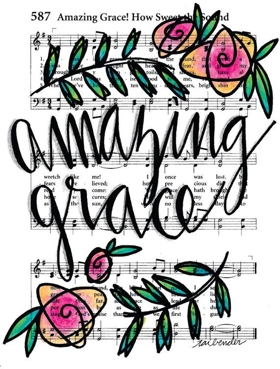 Amazing Grace 5x7 Print Hymn Fine Art Hymnal Watercolor Ink Painting Praise Sheet Music Hand Lettering Calligraphy by Growing Meadows Tai Bender