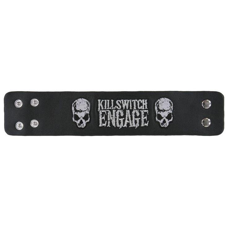 Killswitch Engage - Logo Skulls Leather Wristband
