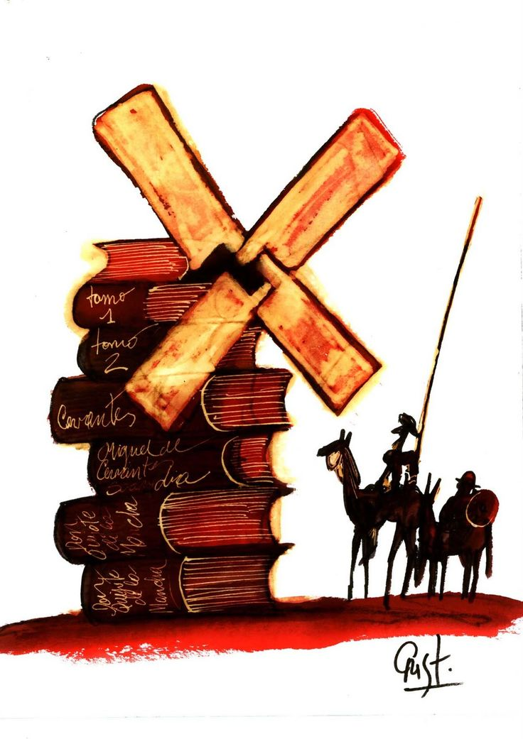 Don Quijote with book windmill. http://spainatm.com/story-don-quijote-de-la-mancha/