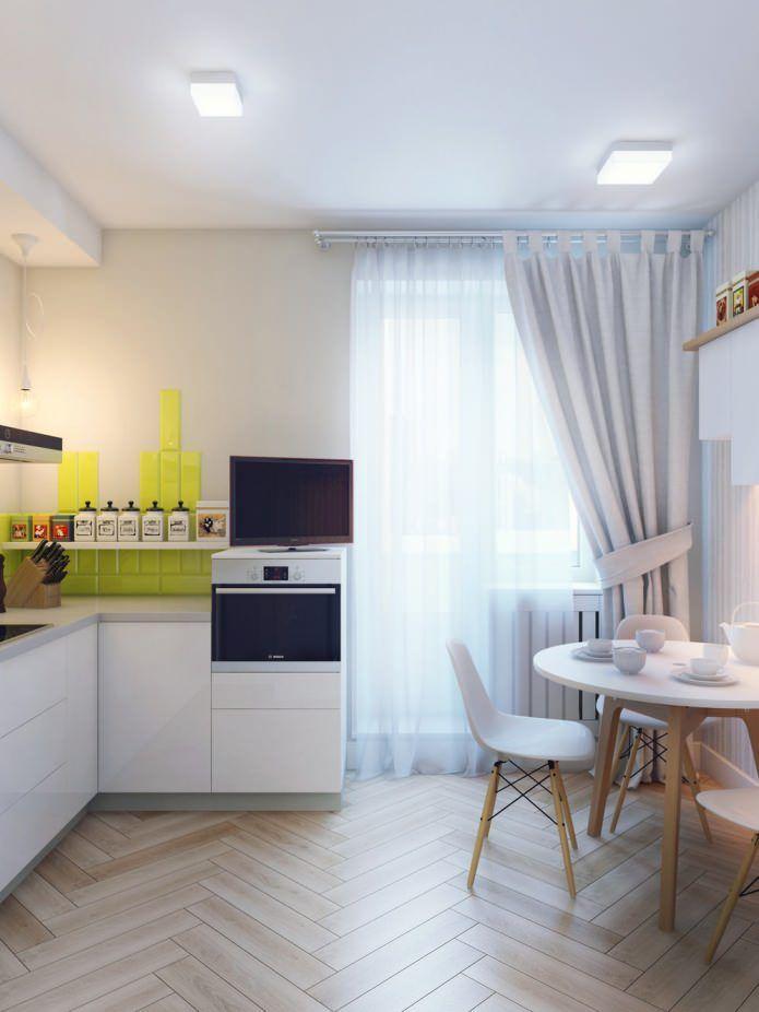кухня в дизайне интерьера 1-комнатной квартиры 37 кв. м.