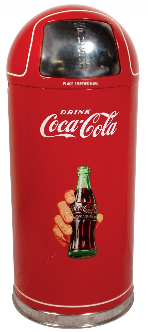 Coca-Cola Kitchen Items | 0382: Coca-Cola metal trash can w/domed top, red w/bott