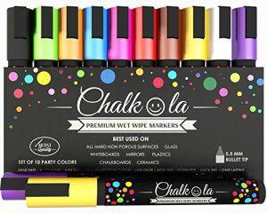 Feutres Chalkola effaçables – Lot de 10 marqueurs de couleur fluo. Utilisables sur tableau blanc, tableau noir, fenêtre, ardoise – Feutres…