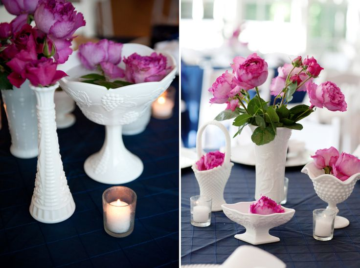 milk glass vases with hot pink flowers // photo by Alecia Lauren Photography