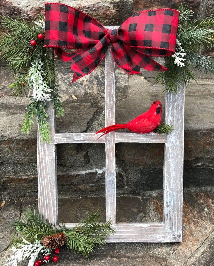 groß  Farmhouse Christmas Decor, Christmas Decorated Window Pane, Winter Window Pane Decor, Christmas Window Frame, Rustic Wooden Window Pane