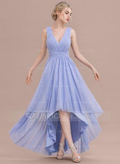 [€ 96.23] A-Linie/Princess-Linie V-Ausschnitt Asymmetrisch Tüll Brautjungfernkleid mit Rüschen