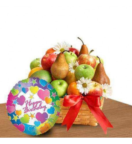 Tooty-Frooty Birthday A tasteful fruit basket that is truly wonderful for birthday. Beautifully arranged flowers fresh green apple, red apple, guava, pear and orange is delicious dessert for birthday person and the family. A single mylar balloon for one and only birthday wishes for special person.