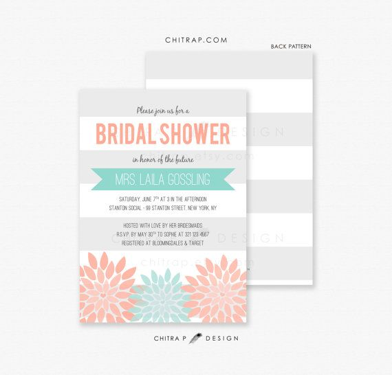 Coral Mint Bridal Shower Invitation  Printed Engagement