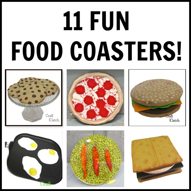 11 Fun Food Coasters! ~~  Food crafts, #FoodCrafts #FunWithFood #Food    food, food crafts, how to make, how to, howto, crafts, crafting, diy home decor, cookies, chocolate chip cookies, resin, resin crafts, polymer clay, projects, ideas, pizza, eggs, amores, mung beans
